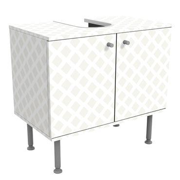 Waschbeckenunterschrank - Rautengitter hellbeige - Badschrank