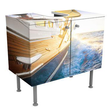 Waschbeckenunterschrank - Segelboot auf blauem Meer bei Sonnenschein - Maritim Badschrank