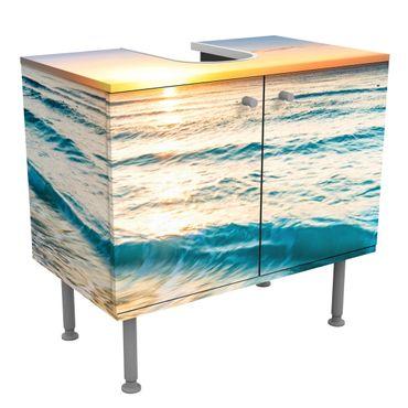 Waschbeckenunterschrank - Sonnenuntergang am Strand - Badschrank