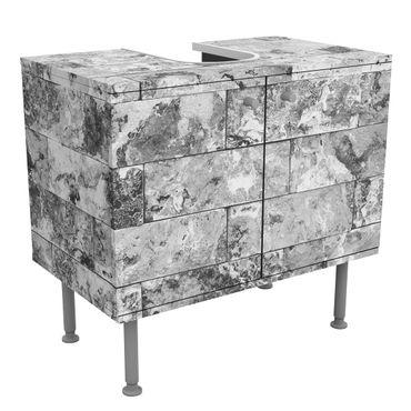 Waschbeckenunterschrank - Steinwand Naturmarmor grau - Badschrank