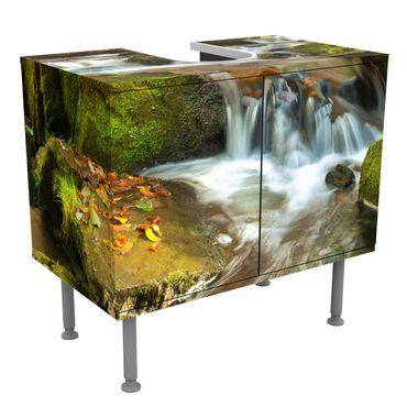 Waschbeckenunterschrank - Wasserfall herbstlicher Wald - Badschrank