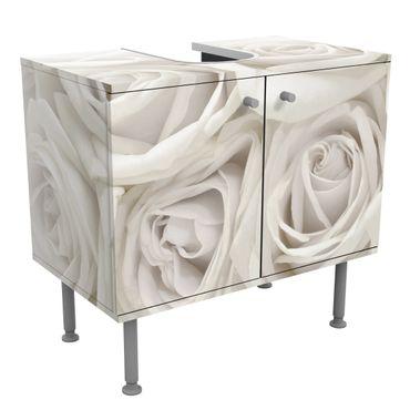 Rosen Waschbeckenunterschrank - Weiße Rosen - Blumen Badschrank Weiß