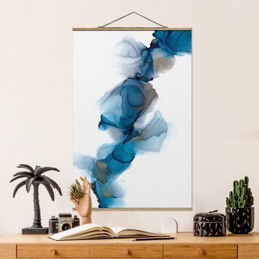 Stoffbild mit Posterleisten - Weg des Windes Blau und Gold - Hochformat 2:3