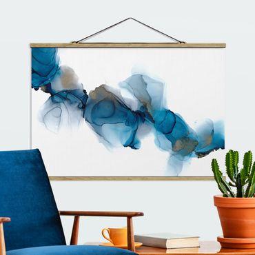 Stoffbild mit Posterleisten - Weg des Windes Blau und Gold - Querformat 3:2