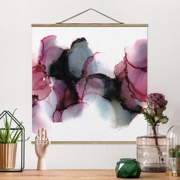 Stoffbild mit Posterleisten - Weg des Windes Violett und Gold - Quadrat 1:1