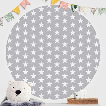 Runde Tapete selbstklebend - Weiße Sterne auf grauem Hintergrund