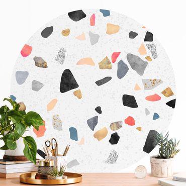 Runde Tapete selbstklebend - Weißer Terrazzo mit Goldsteinchen