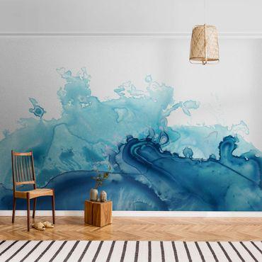 Metallic Tapete  - Welle Aquarell Blau I