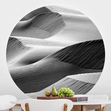 Runde Tapete selbstklebend - Wellenmuster im Wüstensand