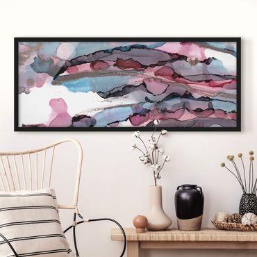 Bild mit Rahmen - Wellenreiten in Violett mit Roségold - Panorama