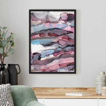 Bild mit Rahmen - Wellenreiten in Violett mit Roségold - Hochformat