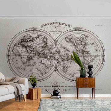 Metallic Tapete  - Weltkarte - Französische Karte der Hemissphären von 1848