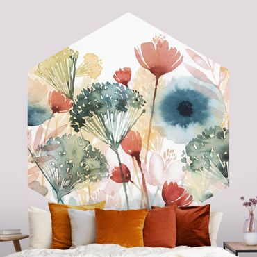 Hexagon Mustertapete selbstklebend - Wildblumen im Sommer I