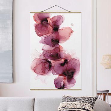 Stoffbild mit Posterleisten - Wilde Blüten in Violett und Gold - Hochformat 2:3