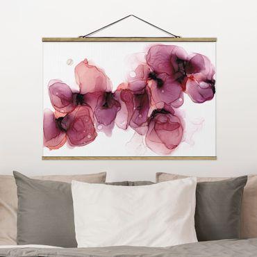 Stoffbild mit Posterleisten - Wilde Blüten in Violett und Gold - Querformat 3:2