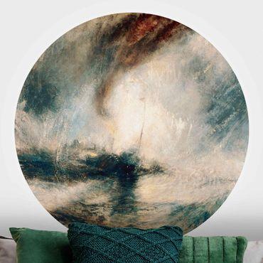 Runde Tapete selbstklebend - William Turner - Schneesturm über Meer