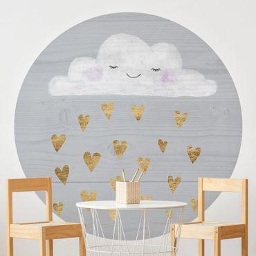 Runde Tapete selbstklebend - Wolke mit goldenen Herzen