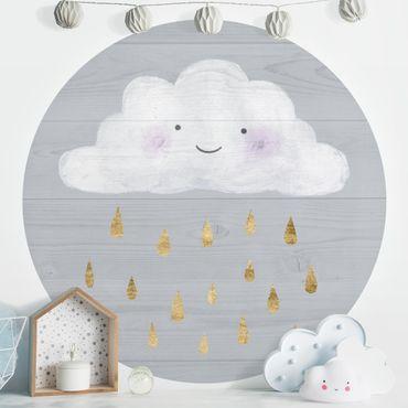 Runde Tapete selbstklebend - Wolke mit goldenen Regentropfen