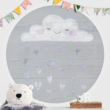 Runde Tapete selbstklebend - Wolke mit silbernen Herzen