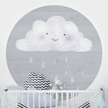 Runde Tapete selbstklebend - Wolke mit silbernen Regentropfen