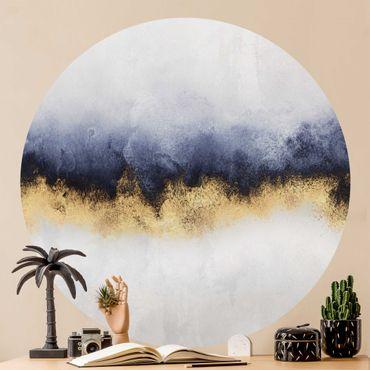 Runde Tapete selbstklebend - Wolkenhimmel mit Gold