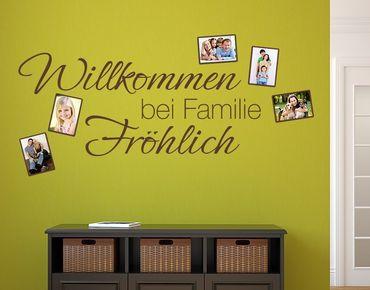 Wunschtext-Wandtattoo Willkommen bei Familie