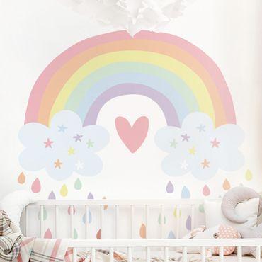 Wandtattoo mehrfarbig Kinderzimmer - XXL Regenbogen Herz Pastell