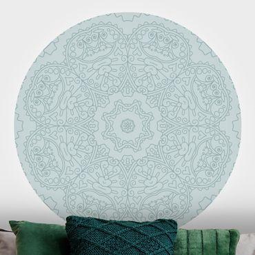 Runde Tapete selbstklebend - Zackige Mandalablume mit Stern in Türkis