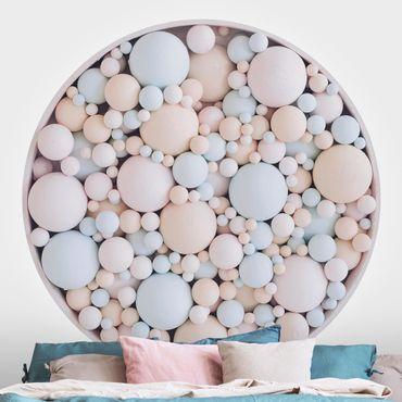 Runde Tapete selbstklebend - Zarte Kreiskomposition in Pastell Rosa