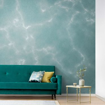 Metallic Tapete  - Zarte Marmoroptik in Blau