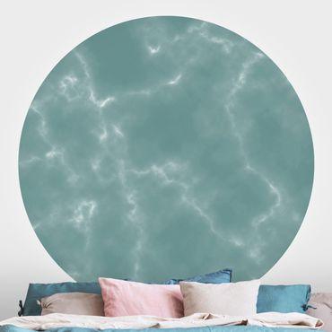 Runde Tapete selbstklebend - Zarte Marmoroptik in Blau