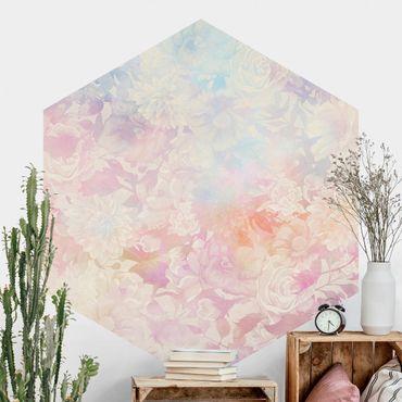 Hexagon Mustertapete selbstklebend - Zarter Blütentraum in Pastell
