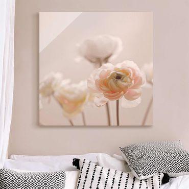 GLASBILDER Foto Weiße Flamingos mit Rosen DE 3899 BILD AUF GLAS 30 MUSTER