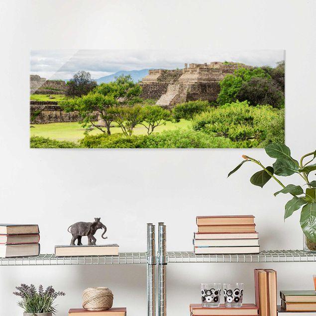 Glasbild - Pyramide von Monte Alban - Panorama Quer