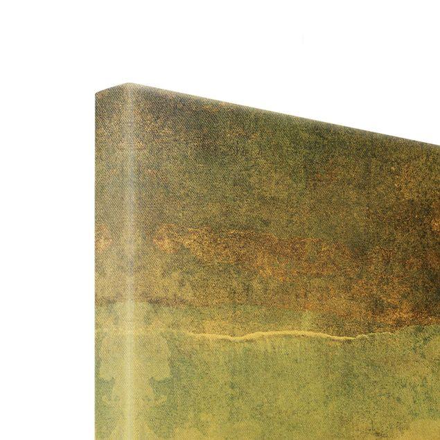Leinwandbild Gold - Abstraktes Seeufer in Gold - Querformat 4:3