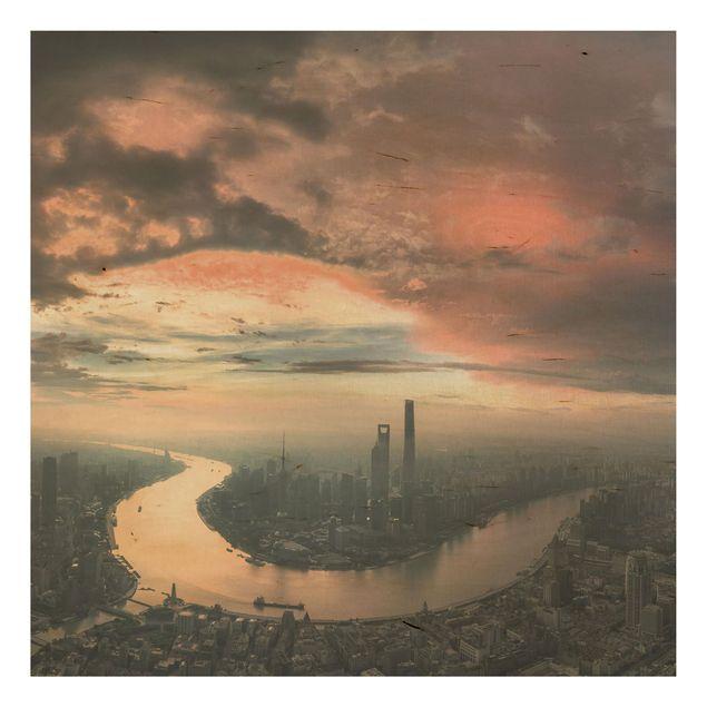 Holzbild - Shanghai am Morgen - Quadrat 1:1