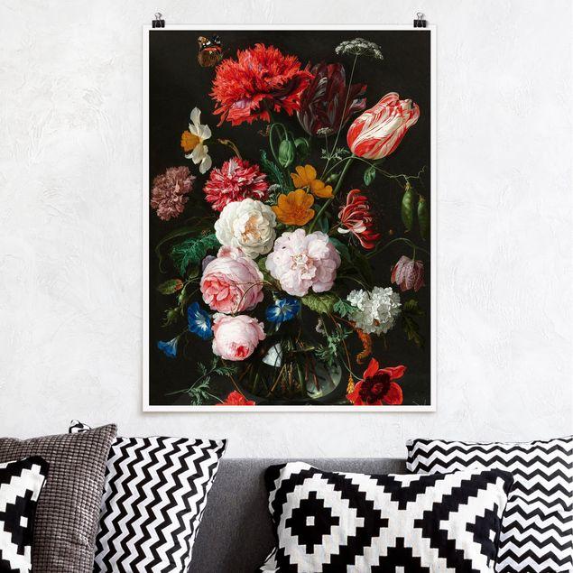 Poster - Jan Davidsz de Heem - Stillleben mit Blumen in einer Glasvase - Hochformat 3:4