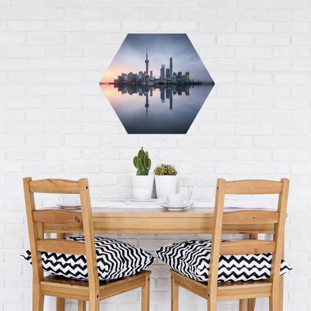 Hexagon Bild Alu-Dibond - Shanghai Skyline Morgenstimmung