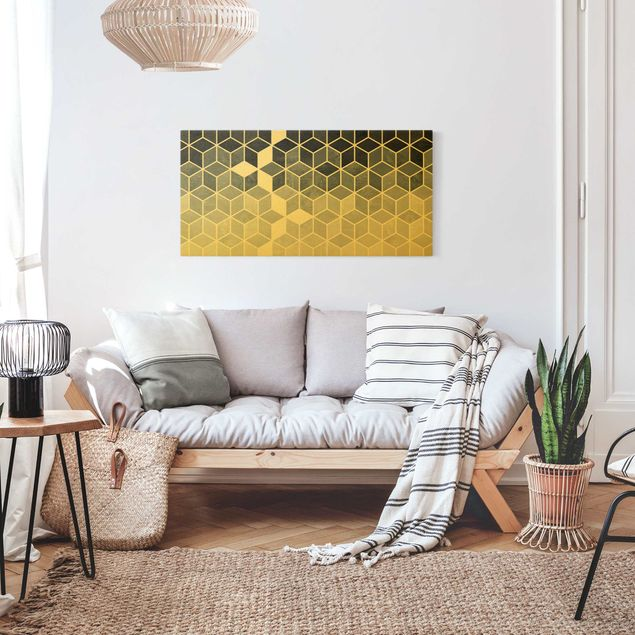 Leinwandbild Gold - Goldene Geometrie - Blau Weiß - Querformat 2:1