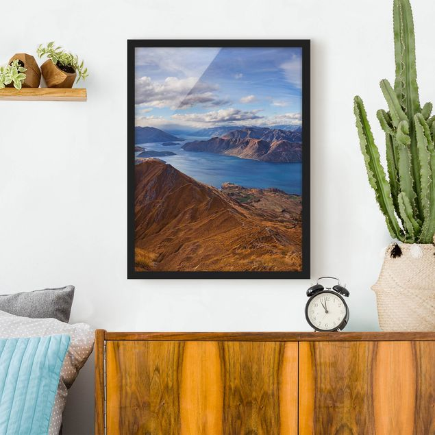 Bild mit Rahmen - Roys Peak in Neuseeland - Hochformat 3:4