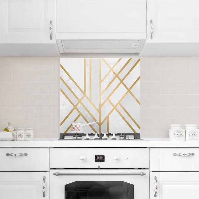 Glas Spritzschutz - Art Deco Geometrie Weiß Gold - Quadrat - 1:1