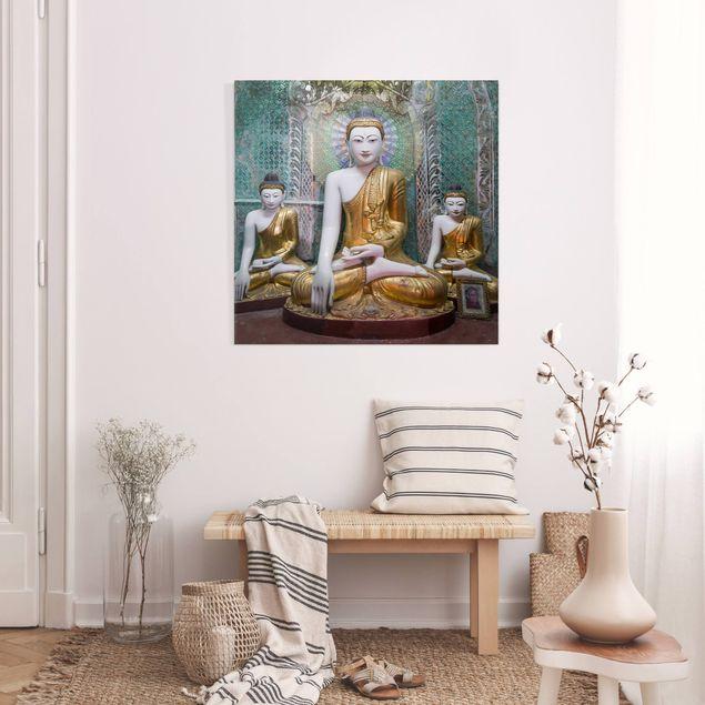 Leinwandbild - Buddha Statuen - Quadrat 1:1