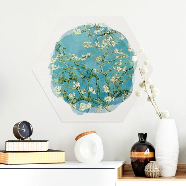 Hexagon Bild Alu-Dibond - Wasserfarben - Vincent van Gogh - Mandelblüte
