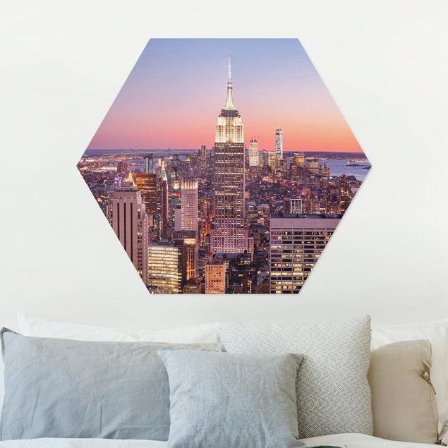Hexagon Bild Alu-Dibond - Sonnenuntergang Manhattan New York City