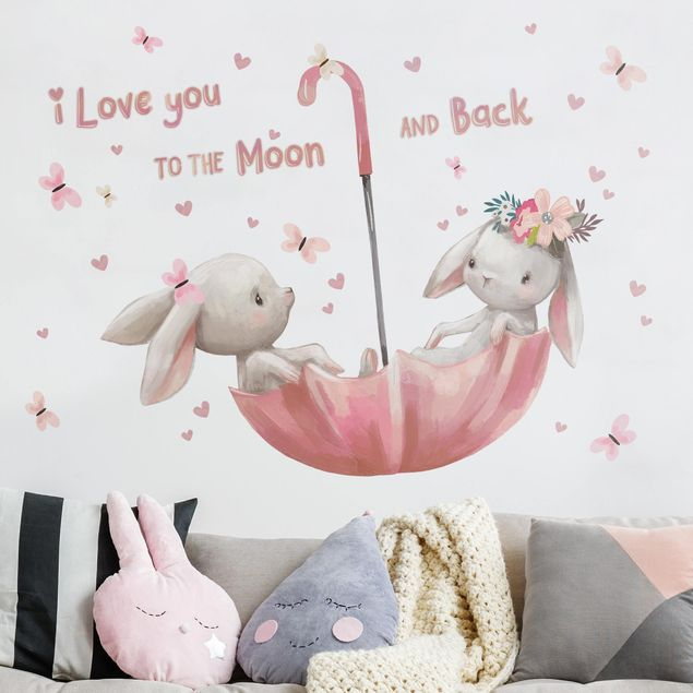 Wandtattoo - Bis zum Mond Hasen im Regenschirm
