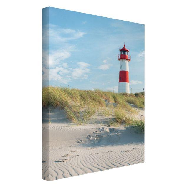Leinwandbild - Leuchtturm an der Nordsee - Hochformat 2:3