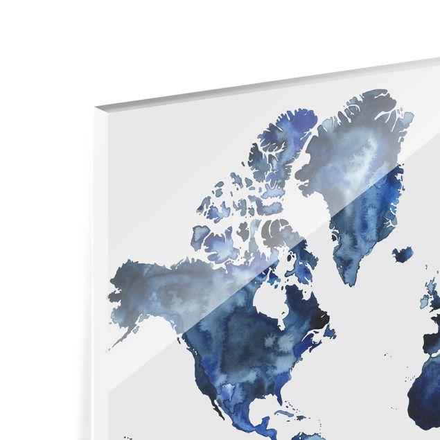 Glas Spritzschutz - Wasser-Weltkarte hell - Querformat - 4:3
