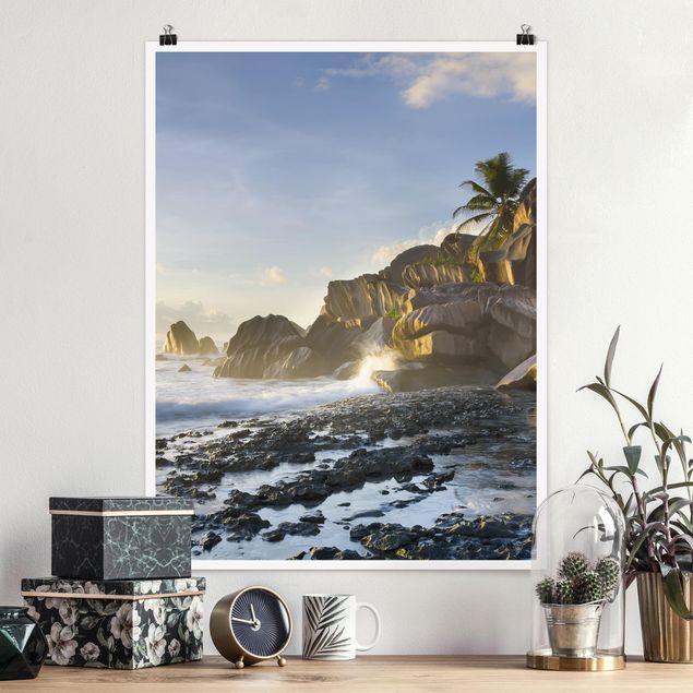 Poster - Sonnenuntergang im Inselparadies - Hochformat 3:4