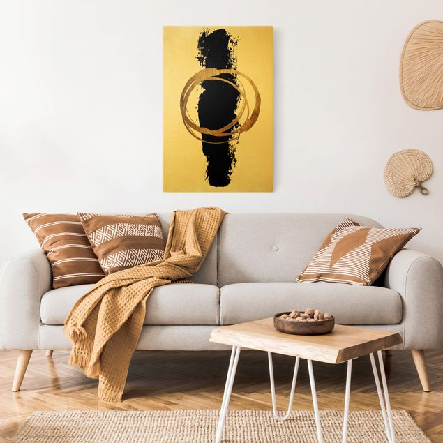 Leinwandbild Gold - Abstrakte Formen - Gold und Schwarz - Hochformat 2:3