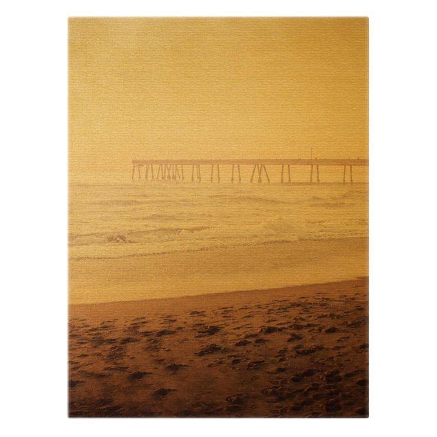 Leinwandbild Gold - Kalifornien Halbmond Küste - Hochformat 3:4